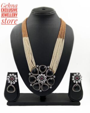long beaded oxidised pandent necklace sets