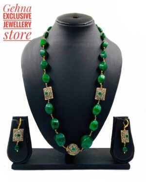 Green Jade Carved Necklace