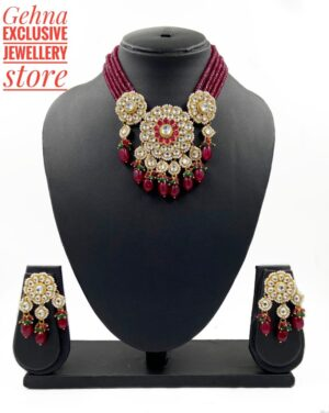 Beaded Kundan Choker Necklace set