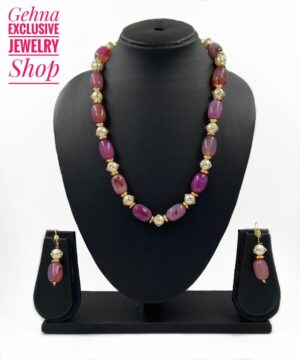 Semi Precious Pink Necklace