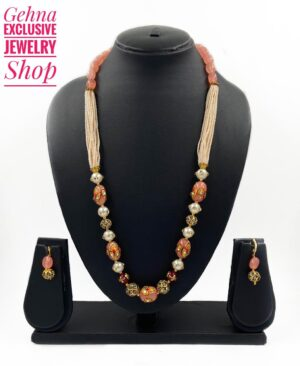 Peach Color Beads Necklace