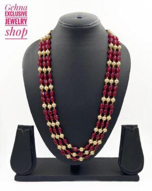 Ruby Beads Long Necklace