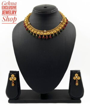 antique gold necklace set for weddings and parties