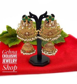 designer geru jhumki earrings
