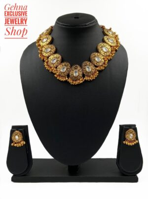 Antique Golden Party Necklace Set