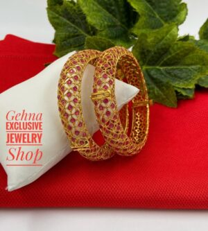 Golden Ruby Stone Bangles