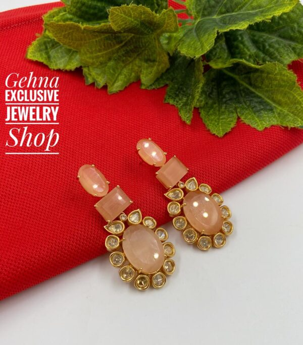 party earrings in peach