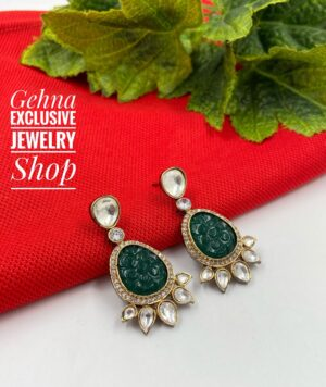 green color dangler earrings