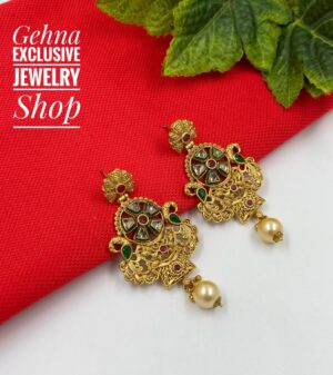 traditional antique golden earrings