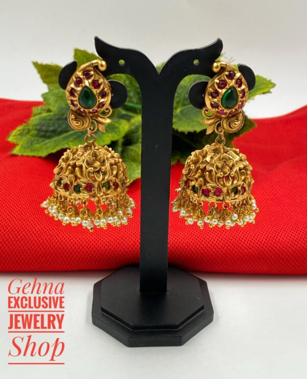 wedding wear golden jhumki