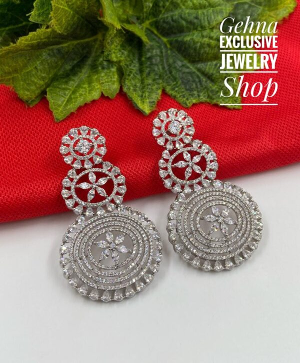 Long Silver Toned Earrings
