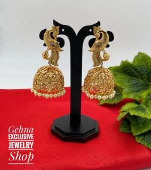 antique golden peacock jhumki