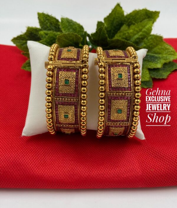 Traditional Golden Ruby Bangles