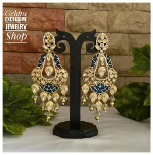 blue color Kundan earrings