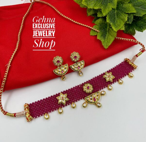 Red Choker Necklace Set