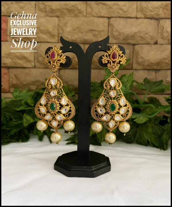 Golden Kundan Long earrings