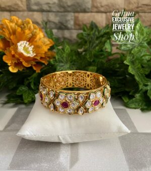 Gold Plated Kundan Bangle for ladies
