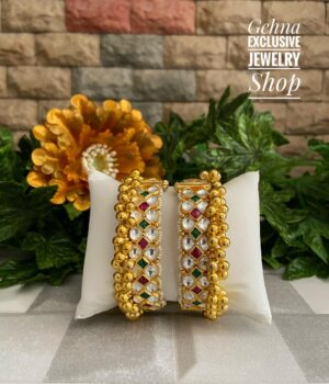 Gold Plated Jadau Bangles for ladies
