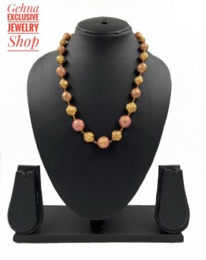 Golden Meenakari Beads Necklace
