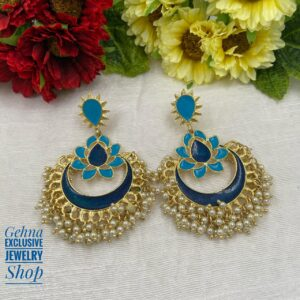 Blue Meenakari Chandbali Earrings