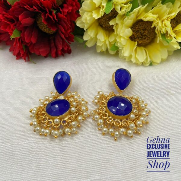 party earrings in blue