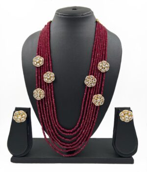 Multi Layer Maroon Necklace