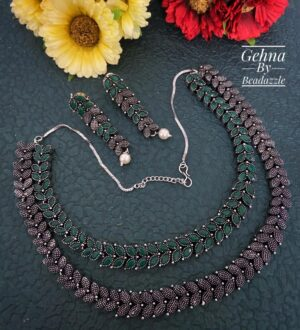 Oxidized Silver Toned Green Stone Necklace