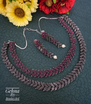 Oxidized Silver Toned Ruby Stone Necklace