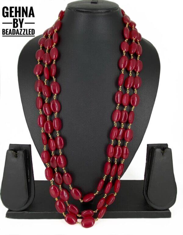 Layered Red Beads necklace