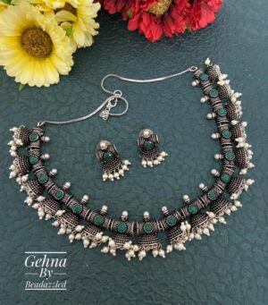 oxidized Silver Green Necklace