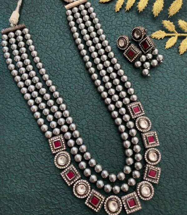 oxidized kundan Pearl Necklace set