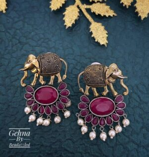 ruby stone elephant earrings