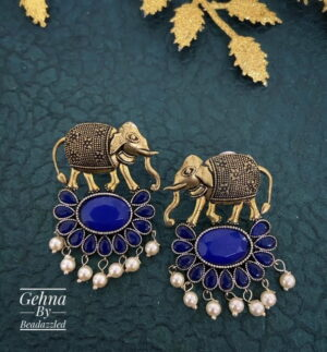 blue stone elephant earrings