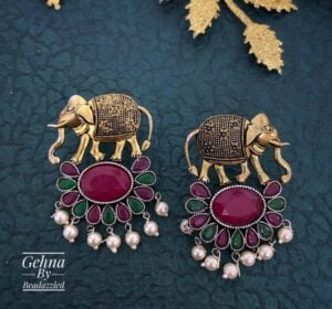 multicolor stone elephant earrings