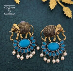 turquoise stone elephant earrings