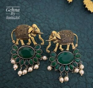 green stone elephant earrings