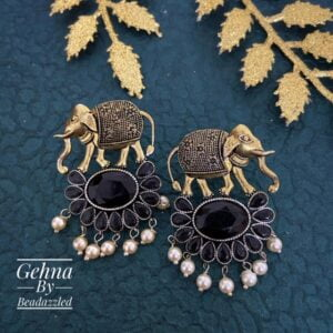 black stone elephant earrings