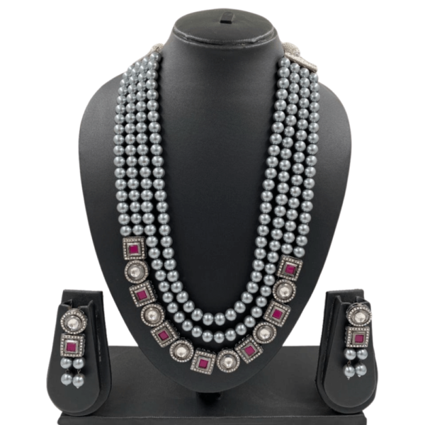 Oxidised Kundan Necklace Set