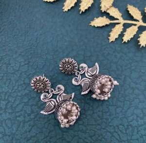 Silver Tone Oxidized Jhumki Earrings