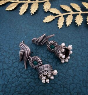 Oxidized Jhumka Earrings