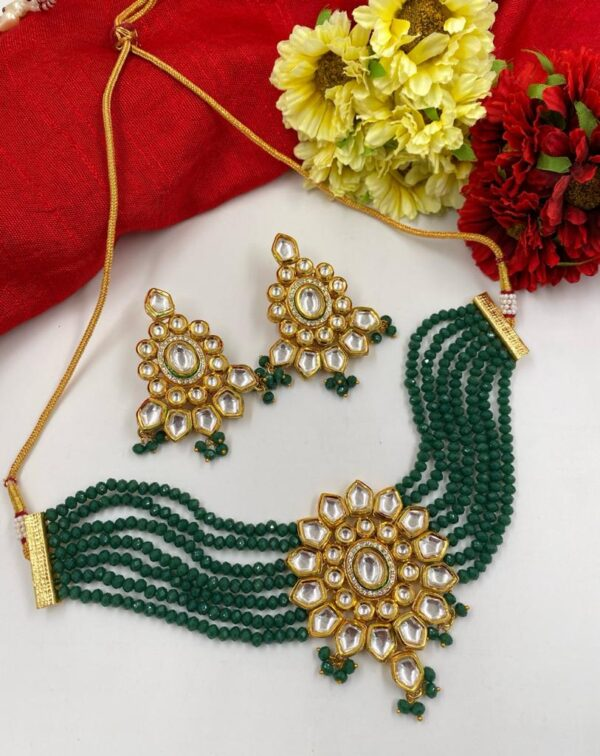 Green beaded kundan Choker