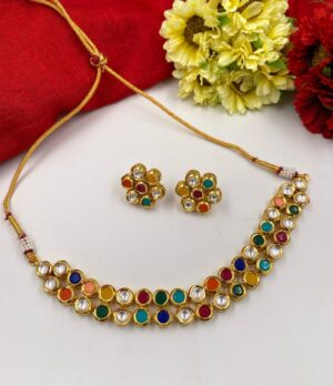 Multi Color Kundn necklace Set