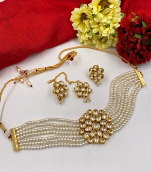 Pearls Beaded Choker Necklace Set