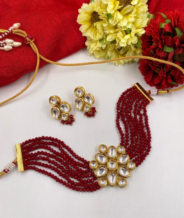Red Beads Choker necklace Set