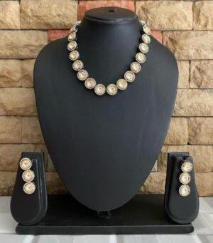 Victorian Polki Oxidized Kundan Necklace Set