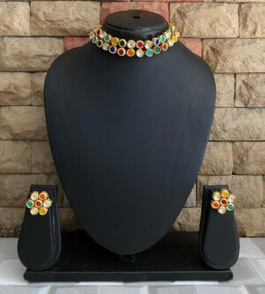 Multicolor Kundan necklace Set