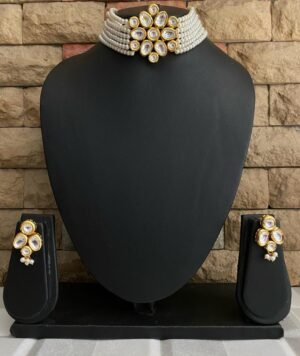 Pearl Beaded Choker Necklace set