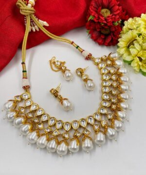 Gold Plated Kundan Pearl Necklace Set
