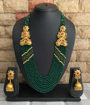 Green Multi layered Beads necklace