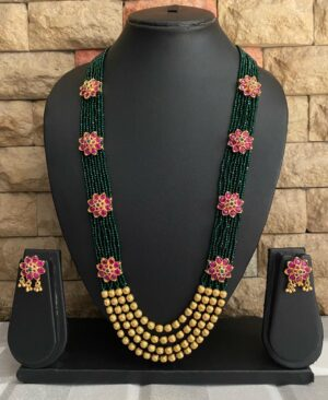 Traditional Green Multilayered Beaded Necklace